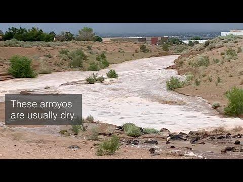 Torrential Rains, Flash Flooding in Albuquerque, NM (Arroyo Video)