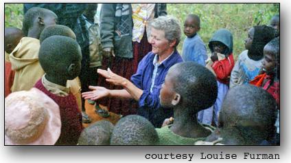 Louise Furman visiting children in Kenya