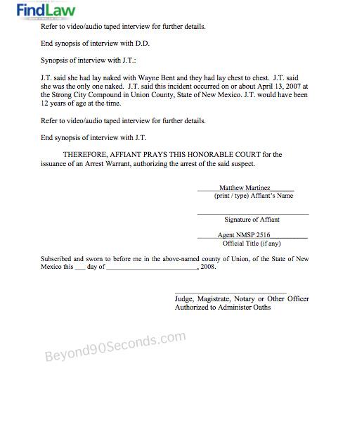 Arrest Warrant Affidavit