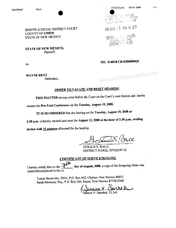Order to Vacate and Reset Hearing