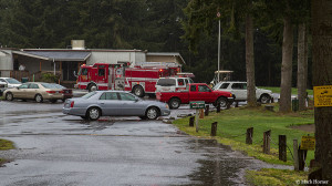 Emergency response vehicles at the Battle Creek golf course on Friday afternoon.