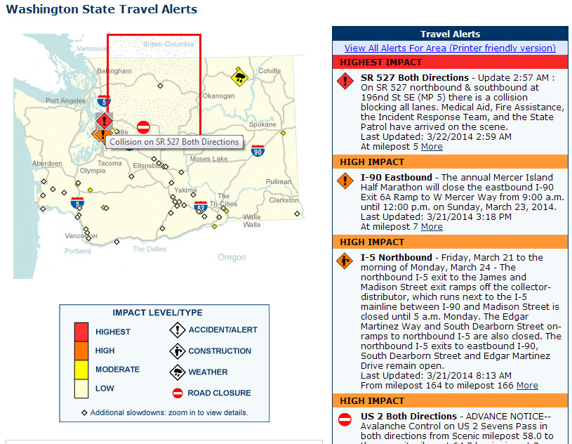 WSDOT's travel alert page at 2:59am identifies the Bothell-Everett Highway closure as having the highest impact.