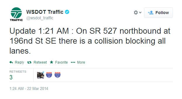 Early morning tweet from WSDOT_traffic.