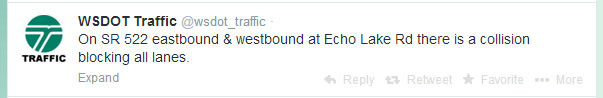 Washington State Department of Transportation's traffic tweet late Tuesday evening.