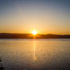 Sunset over Whidbey Island, Washington as seen from Mukilteo.