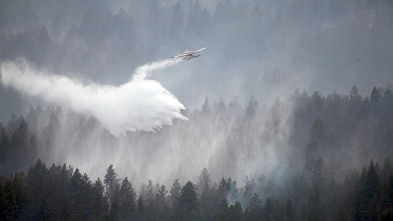 Plane dropping water over forest with smoky air.